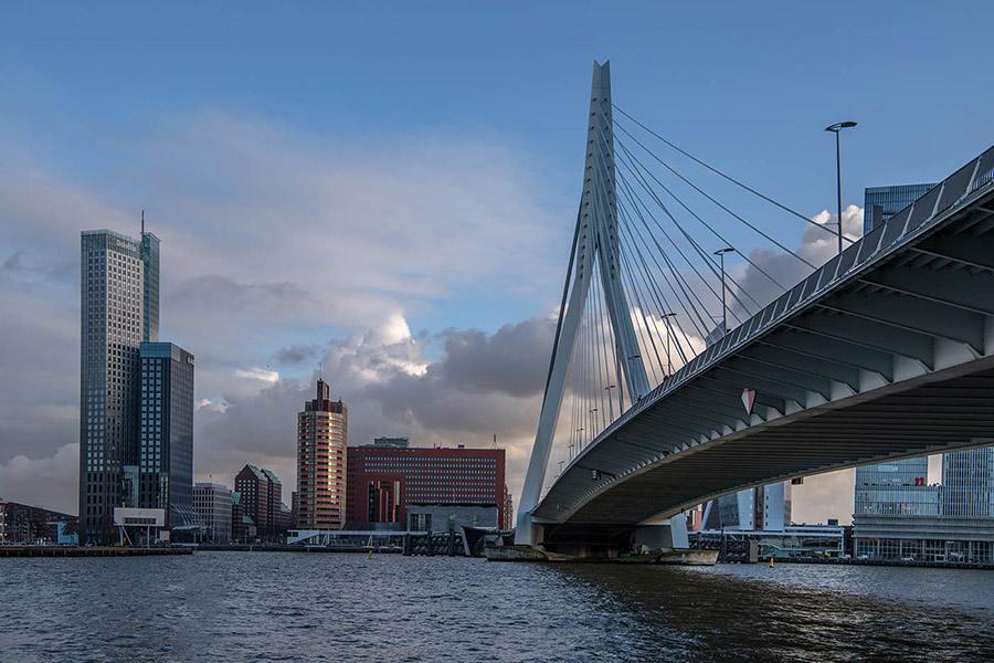 Die Erasmus Brücke ist sehenswert und bekannt