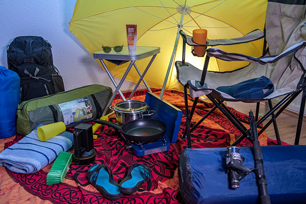 Bilde eines Teils der Campingutensilien
