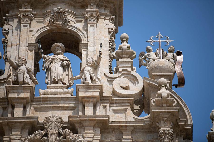 Die kathedrale von Santiago de Compostela ist das Ziel der Pilger