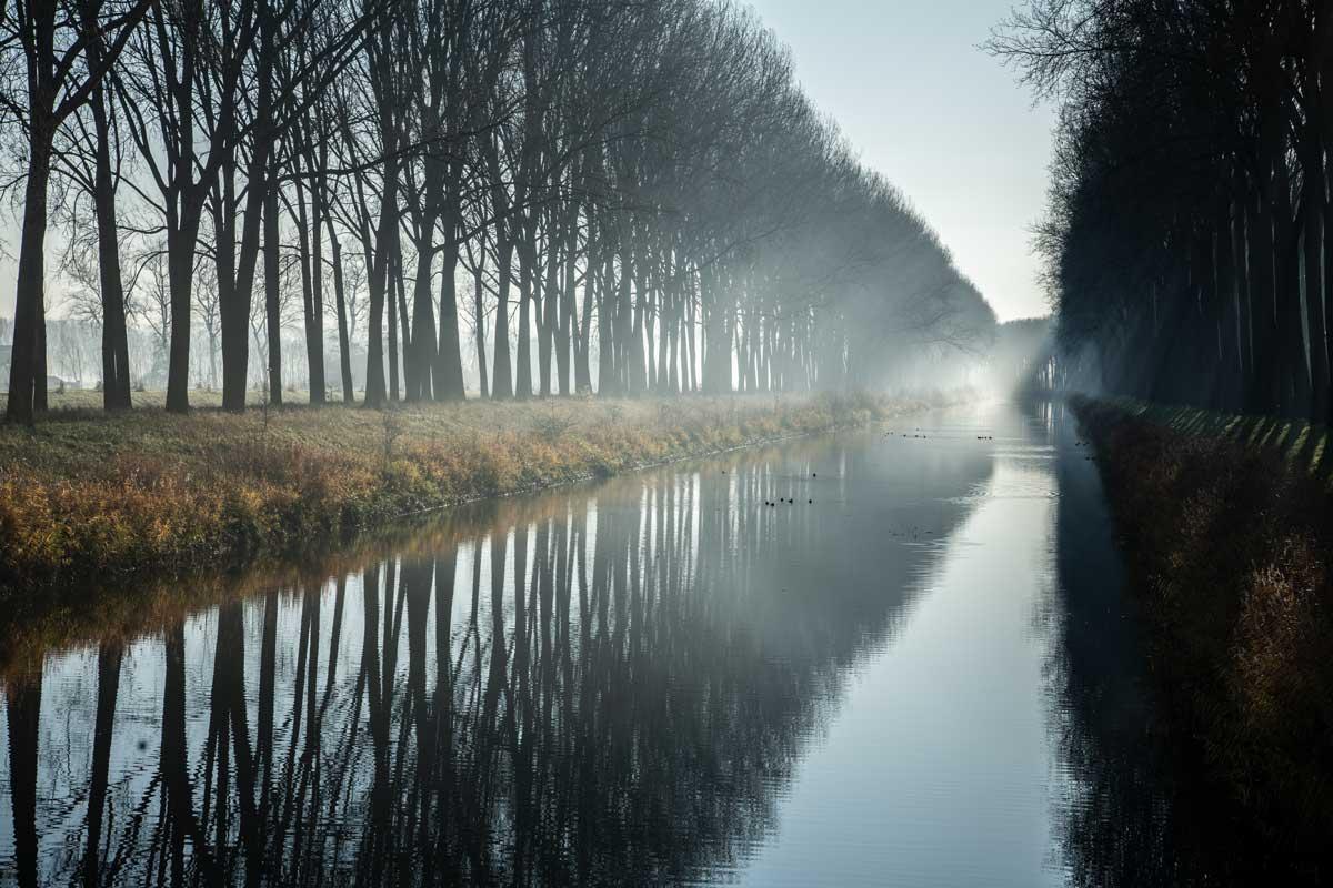 Ein Kanal im Morgennebel ausserhalb von Brügge