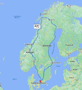 karteb der Norwegen Rundreise