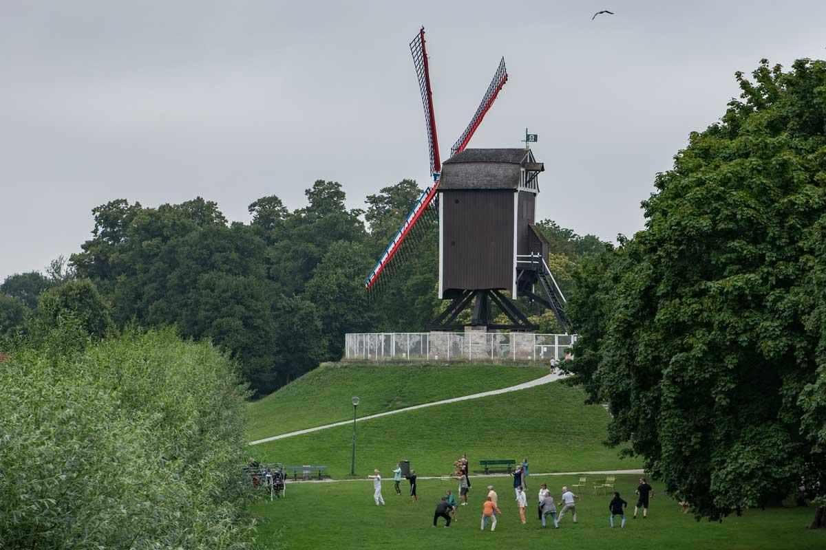 Auf den Wiesen bei den Windmühlen trefefn sich Gruppen zum gemeinsamen Sport
